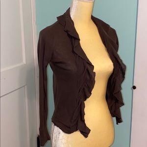 J. CREW light cotton ruffle-front cardigan sweater